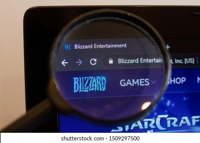 Los Angeles; California; USA - 17/09/2019: Blizzard game website homepage. Blizzard game logo visible on monitor