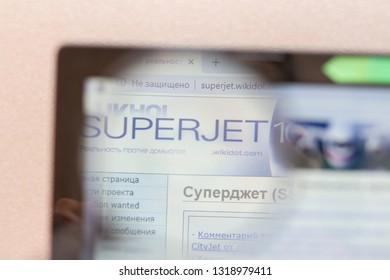 Los Angeles; California; USA - 19 February 2019: Sukhoi Superjet website homepage. Sukhoi Superjet logo visible on monitor screen