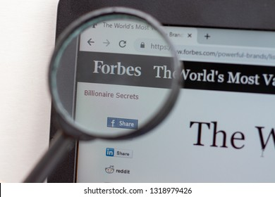 Los Angeles; California; USA - 19 February 2019: Forbes website homepage. Forbes logo visible on monitor screen