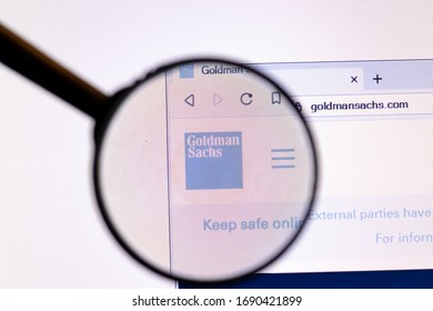 Los Angeles, California, USA - 20 March 2020: Goldman Sachs Group company logo on website page close-up on screen, Illustrative Editorial.