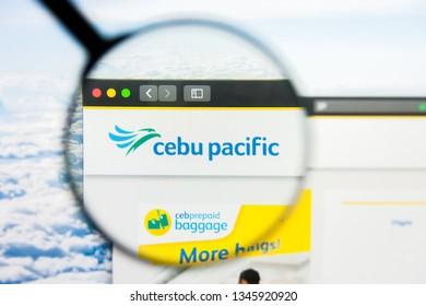 Los Angeles, California, USA - 21 March 2019: Illustrative Editorial of CEBU Pacific Air website homepage. CEBU Pacific Air logo visible on display screen.