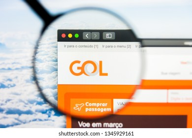 Los Angeles, California, USA - 21 March 2019: Illustrative Editorial of Gol website homepage. Gol logo visible on display screen.