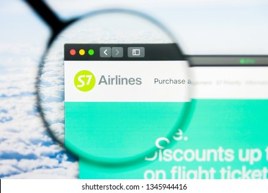 Los Angeles, California, USA - 21 March 2019: Illustrative Editorial of S7 Airlines website homepage. S7 Airlines logo visible on display screen.