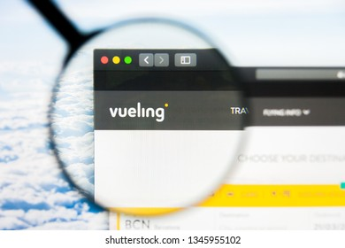 Los Angeles, California, USA - 21 March 2019: Illustrative Editorial of Vueling Airlines website homepage. Vueling Airlines logo visible on display screen.