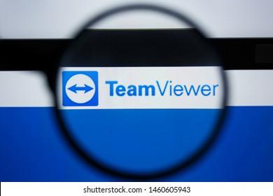 Los Angeles, California, USA - 21 Jule 2019: Illustrative Editorial of TEAMVIEWER.COM website homepage. TEAM VIEWER logo visible on display screen.