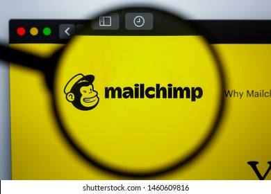 Los Angeles, California, USA - 21 Jule 2019: Illustrative Editorial of MAILCHIMP.COM website homepage. MAIL CHIMP logo visible on display screen.