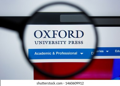 Los Angeles, California, USA - 21 Jule 2019: Illustrative Editorial of OXFORDUNIVERSITYPRESS.COM website homepage. OXFORD UNIVERSITY PRESS logo visible on display screen.