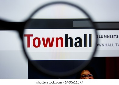 Los Angeles, California, USA - 21 Jule 2019: Illustrative Editorial of TOWNHALL website homepage. TOWNHALL.COM logo visible on display screen.