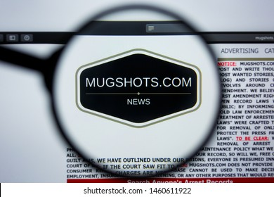 Los Angeles, California, USA - 21 Jule 2019: Illustrative Editorial of MUGSHOTS.COM website homepage. MUG SHOTS logo visible on display screen.