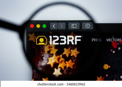 Los Angeles, California, USA - 21 Jule 2019: Illustrative Editorial of 123RF.COM website homepage. 123RF logo visible on display screen.
