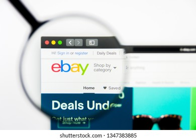 Los Angeles, California, USA - 23 March 2019: Illustrative Editorial of eBay website homepage. eBay logo visible on display screen.