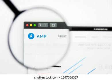 Los Angeles, California, USA - 23 March 2019: Illustrative Editorial of AMP website homepage. AMP logo visible on display screen.