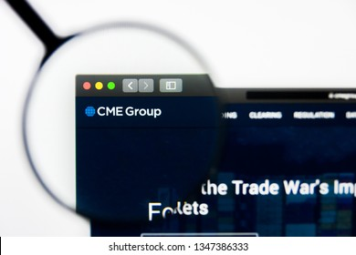 Los Angeles, California, USA - 23 March 2019: Illustrative Editorial of CME Group website homepage. CME Group logo visible on display screen.