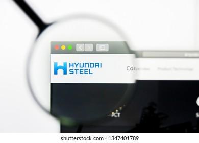 Los Angeles, California, USA - 23 March 2019: Illustrative Editorial of Hyundai Steel website homepage. Hyundai Steel logo visible on display screen.