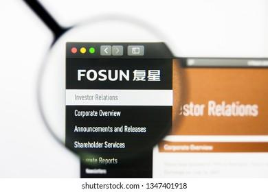 Los Angeles, California, USA - 23 March 2019: Illustrative Editorial of Fosun International website homepage. Fosun International logo visible on display screen.