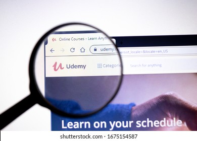 Los Angeles, California, USA - 23 January 2020: Udemy website page. Udemy.com logo on display screen, Illustrative Editorial.