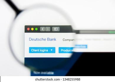 Los Angeles, California, USA - 24 March 2019: Illustrative Editorial of Deutsche Bank website homepage. Deutsche Bank logo visible on display screen.