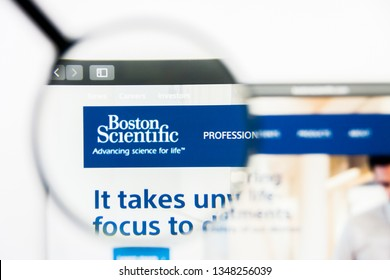Los Angeles, California, USA - 24 March 2019: Illustrative Editorial of Boston Scientific website homepage. Boston Scientific logo visible on display screen.