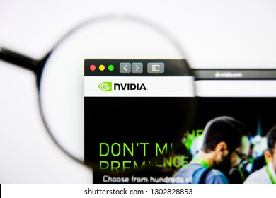 Los Angeles, California, USA - 25 January 2019: NVIDIA Semiconductors website homepage. NVIDIA Semiconductors logo visible on display screen.