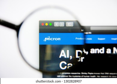 Los Angeles, California, USA - 25 January 2019: Micron Technology website homepage. Micron Technology logo visible on display screen.