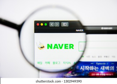 Los Angeles, California, USA - 25 January 2019: Naver website homepage. Naver logo visible on display screen.