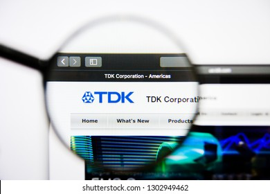 Los Angeles, California, USA - 25 January 2019: TDK website homepage. TDK logo visible on display screen.
