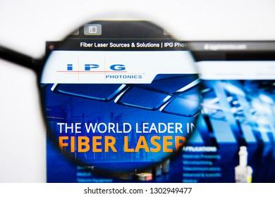 Los Angeles, California, USA - 25 January 2019: IPG Photonics website homepage. IPG Photonics logo visible on display screen.