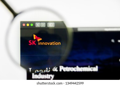 Los Angeles, California, USA - 25 March 2019: Illustrative Editorial of SK Innovation website homepage. SK Innovation logo visible on display screen.