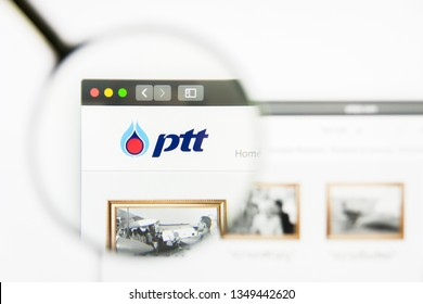 Los Angeles, California, USA - 25 March 2019: Illustrative Editorial of PTT PCL website homepage. PTT PCL logo visible on display screen.