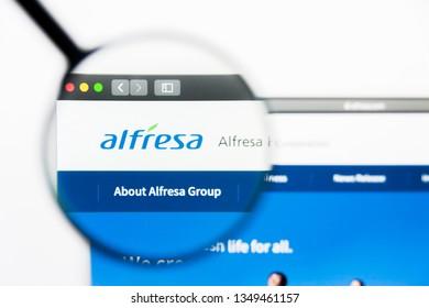 Los Angeles, California, USA - 25 March 2019: Illustrative Editorial of Alfresa Holdings website homepage. Alfresa Holdings logo visible on display screen.