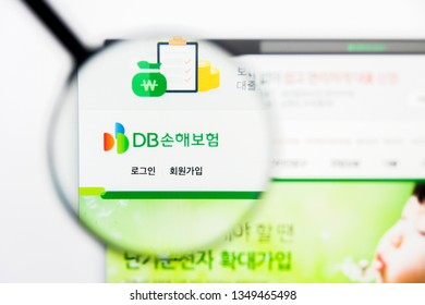 Los Angeles, California, USA - 25 March 2019: Illustrative Editorial of Db Insurance website homepage. Db Insurance logo visible on display screen.