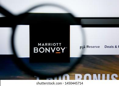 Los Angeles, California, USA - 25 June 2019: Illustrative Editorial of marriott bonvoy website homepage. marriott bonvoy logo visible on display screen.