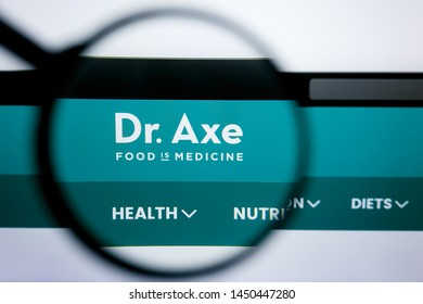 Los Angeles, California, USA - 25 June 2019: Illustrative Editorial of DR. axe website homepage. DR. axe logo visible on display screen.