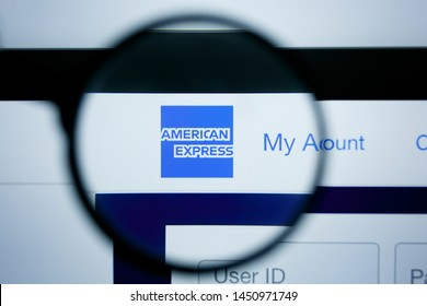Los Angeles, California, USA - 25 June 2019: Illustrative Editorial of american express website homepage. american express logo visible on display screen.