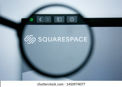 Los Angeles, California, USA - 25 June 2019: Illustrative Editorial of SquareSpace website homepage. Square Space logo visible on display screen.