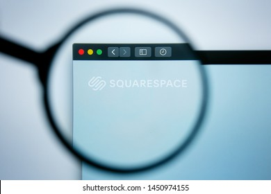 Los Angeles, California, USA - 25 June 2019: Illustrative Editorial of Squarespace website homepage. Square space logo visible on display screen.,