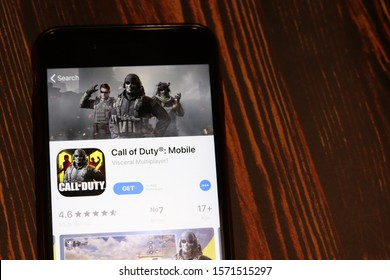 Los Angeles, California, USA - 26 November 2019: Call of Duty Mobile App Store page close up on desk top view, Illustrative Editorial