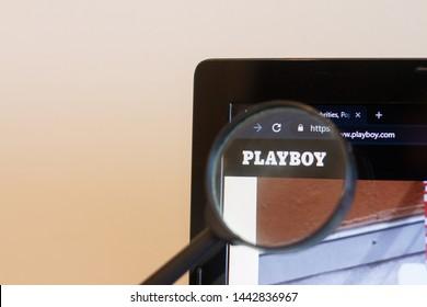 Los Angeles; California; USA - 27 June 2019: PLAYBOY website homepage. PLAYBOY logo visible on monitor screen