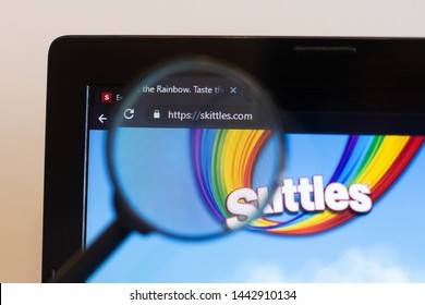 Los Angeles; California; USA - 27 June 2019: Skittles website homepage. Skittles logo visible on monitor