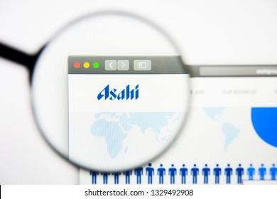 Los Angeles, California, USA - 28 February 2019: Asahi Group Holdings website homepage. Asahi Group Holdings logo visible on display screen, Illustrative Editorial