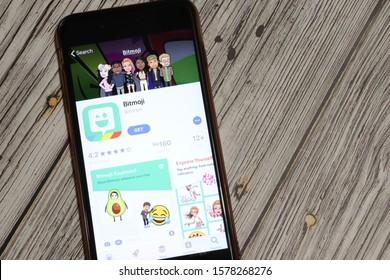 Los Angeles, California, USA - 3 December 2019: Bitmoji App Icon on phone screen, Illustrative Editorial