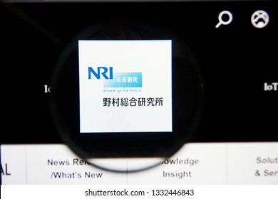 Los Angeles, California, USA - 5 March 2019: NRI website homepage. Nomura Research Institute logo visible on display screen, Illustrative Editorial