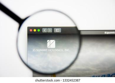 Los Angeles, California, USA - 5 March 2019: JG Summit Holdings website homepage. JG Summit Holdings logo visible on display screen, Illustrative Editorial