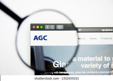 Los Angeles, California, USA - 5 March 2019: Asahi Glass website homepage. Asahi Glass logo visible on display screen, Illustrative Editorial