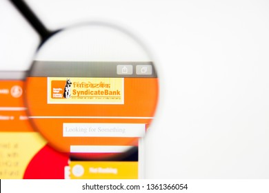 Los Angeles, California, USA - 5 April 2019: Illustrative Editorial of Syndicate Bank website homepage. Syndicate Bank logo visible on display screen.