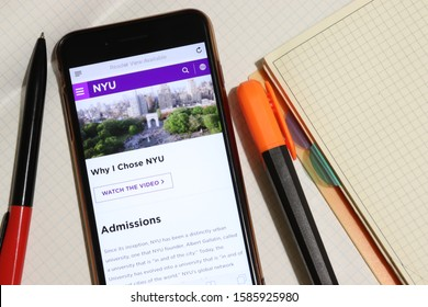 Los Angeles, California, USA - 7 December 2019: Mobile phone screen with New York University NYU website page close-up. Higher education admission and overview concept, Illustrative Editorial