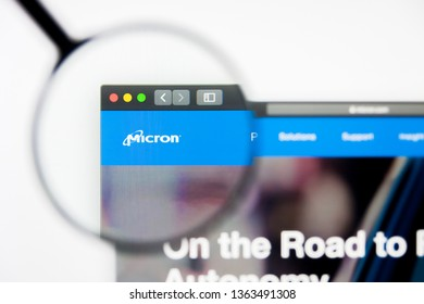 Los Angeles, California, USA - 8 April 2019: Illustrative Editorial of Micron Technology website homepage. Micron Technology logo visible on display screen.