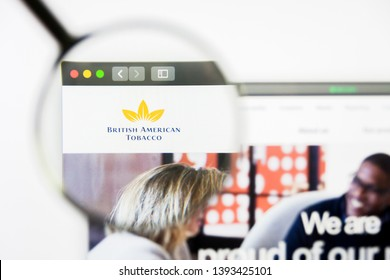 Los Angeles, California, USA - 8 April 2019: Illustrative Editorial of British American Tobacco website homepage. British American Tobacco logo visible on display screen.