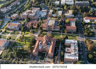 Los Angeles, California, USA - April 18, 2018:  Afternoon aerial view of historic architecture on the UCLA campus in Westwood.