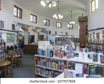 Los Angeles, California USA - April 5, 2018: Interior of Lincoln Heights Carnegie Library shows the curving floor plan and clerestory windows of the Italian Renaissance Revival design.